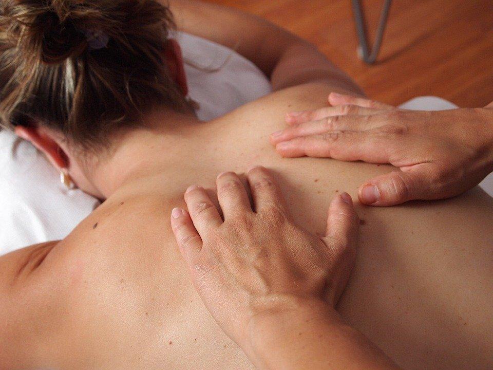Physiothérapie, Massage, Retour, Détendre, Mains