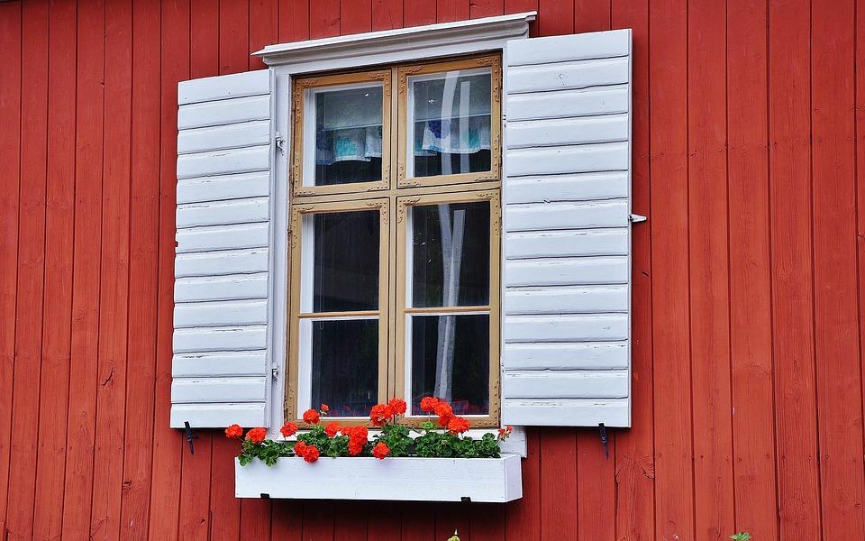 Maison, Bois, Accueil, Fenêtre, Verre, Rouge Maison
