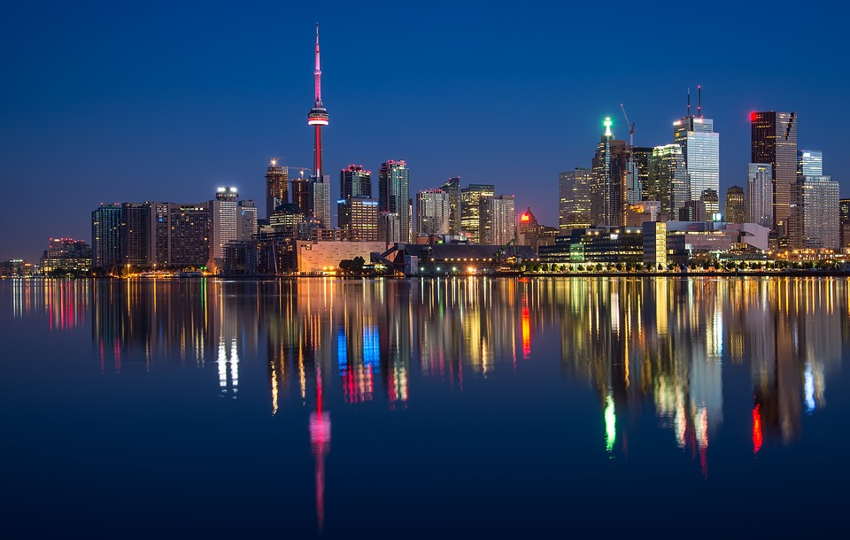 Bâtiments, Tour Cn, Canada, Coloré, Nuit, L'Ontario